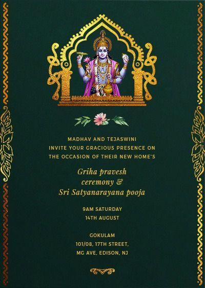 16 Unique Satyanarayan Pooja Invitation Blank Card Image Online Invitation Card Housewarming Invitation Cards Invitation Card Design