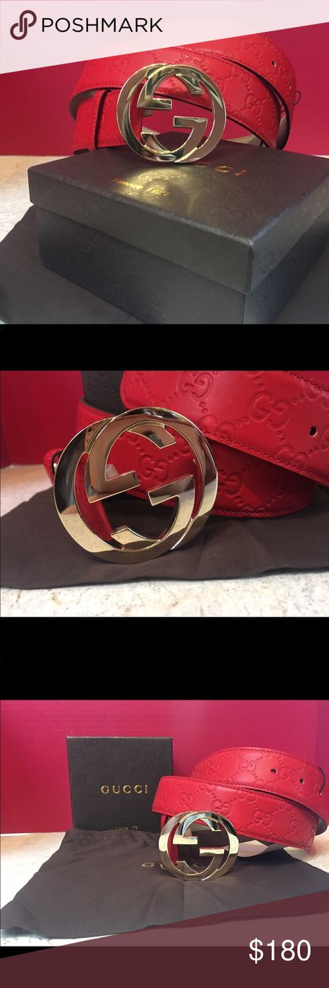 5407b6c3a79 Authentic Mens Gucci Belt Red Guccisima This is an authentic red gucci belt  with a gold