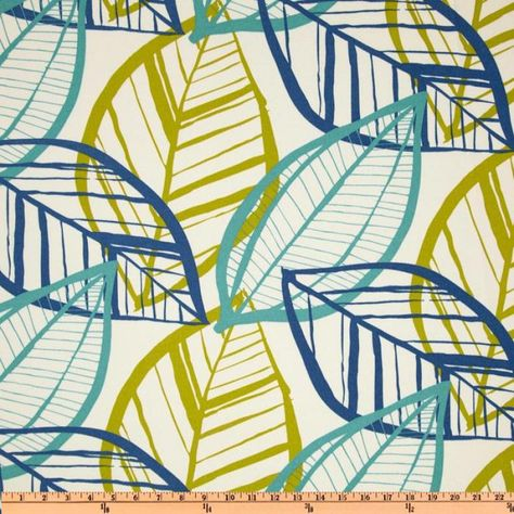 Australia Bold Modern large Scale Leaf Sketch Azure Blue Turquoise Navy Teal Lime Citron White Green Indoor OUTDOOR Sun Safe Famous Maker Outdoor Fabric SRI101