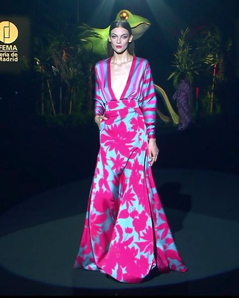 Colorful A-Lane Evening Maxi Dress / Evening Gown with Deep V-Neck Cut and Long Sleeves. Runway Show at the Mercedes-Benz Fashion Week Madrid by Hannibal Laguna