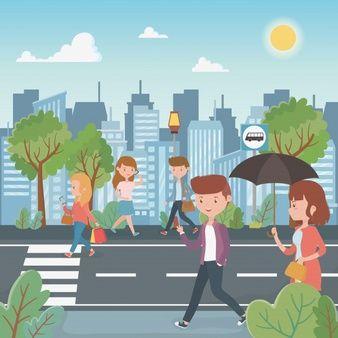 Ilustracion De Personas Caminando En Otono Vector Gratis Book Page Art Colorful Drawings Graphic Illustration