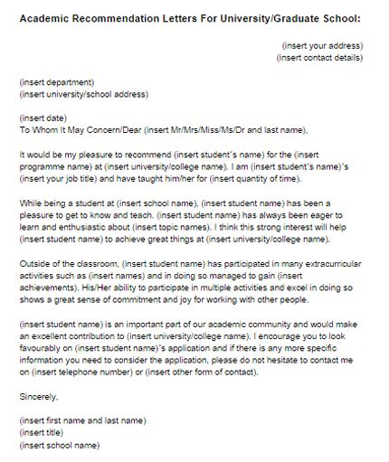 Academic Recommendation Letter Sample Just Templates  One Day