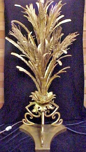 Huge Signed Marbro Co Mcm Hollywood Regency Gold Wheat Sheaf Lamp 42 Excellent Wheat Sheaf Lighting Ceiling Fans Lamp