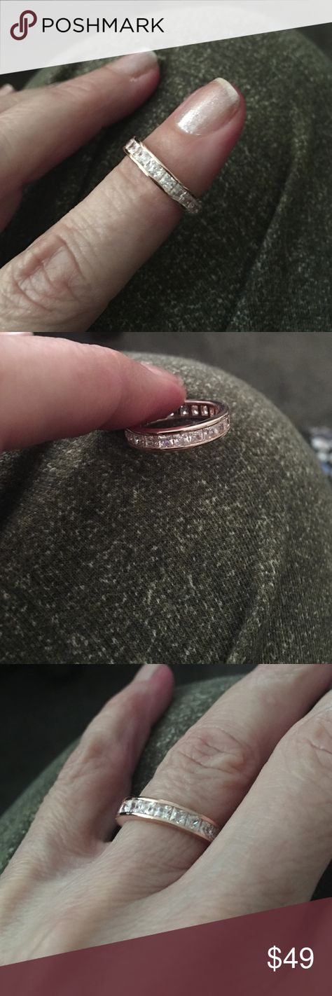 STUNNING 14K ROSE GOLD on STER ETERNITY RING NWT🌺 🌺🌺🌺 CZs high end quality! Jewelry Rings