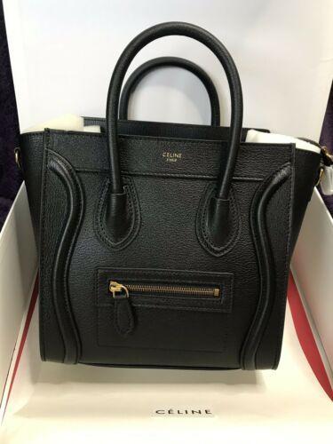 e774fb7ffc5b9 Details about Auth CELINE Luggage Nano Shopper Yellow Black Blue ...