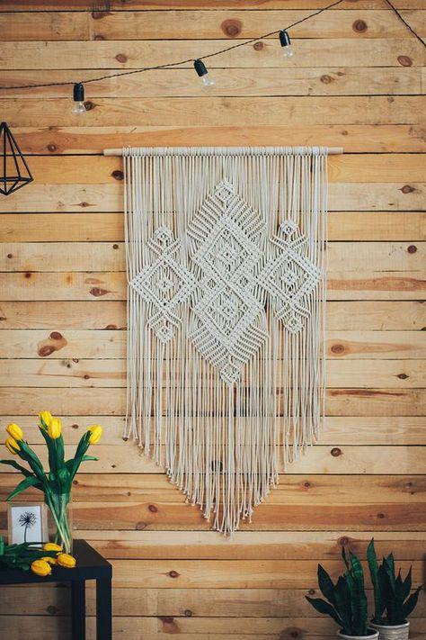 Large macrame wall hanging yarn wall art woven wall art   Etsy