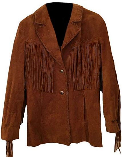Stormwise Mens Western Fringed Suede Leather Jacket with Bones /& Beads