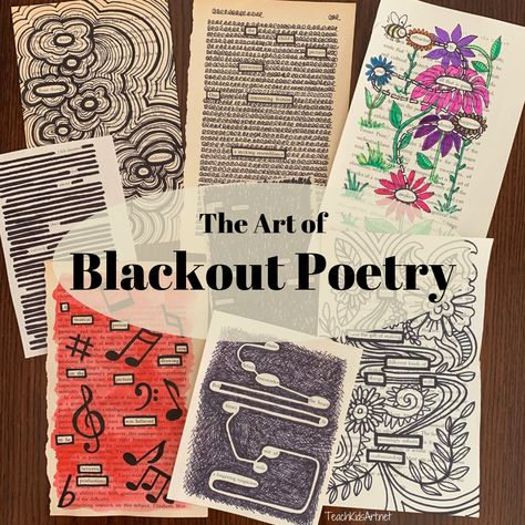"Have you discovered Blackout Poetry yet? It's equally fun for kids and adults and you probably have all you need to do it without buying a thing! Blackout Poetry is a form of ""found poetry"" where you select words that catch your interest from a newspape Blackout Poetry, Blackout Book, Teaching Poetry, Teaching Art, Teaching Resources, Teaching Ideas, High School Art, Middle School Art, School Kids"