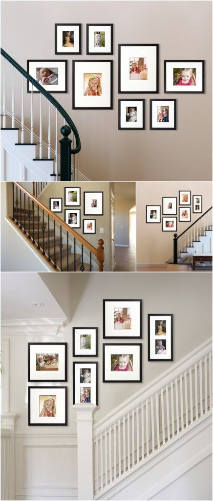 Like the arrangement of these pics - maybe in the hallway or dining room? Think it works with the frames being the same