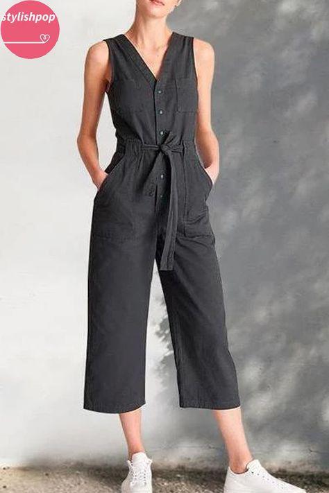 Sleeveless V-Neck Waist-Length Wide-Leg Pants Jumpsuit