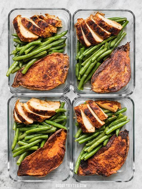 Smoky Chicken And Cinnamon Roasted Sweet Potato Meal Prep Is An Easy Delicious Filling And Healthy Daily Lunch Or D Chicken Meal Prep Dinner Meal Prep Meals