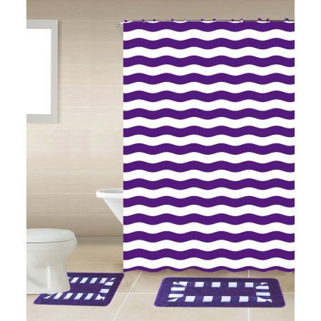 Striped Purple White 15 Piece Bathroom Accessory Set 2 Bath Mats Shower Curtain 12 Fabri Teal Bathroom