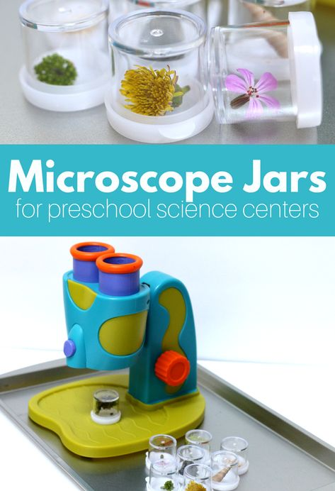 DIY microscope jars for a preschool science center in a preschool classroom. These jars let preschool teachers bring nature inside to be investigated.