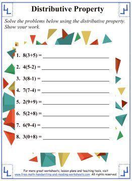 Distributive Property Math Worksheets Distributive Propertymath Worksheets In 2020 Math Properties Distributive Property Mathematics Worksheets