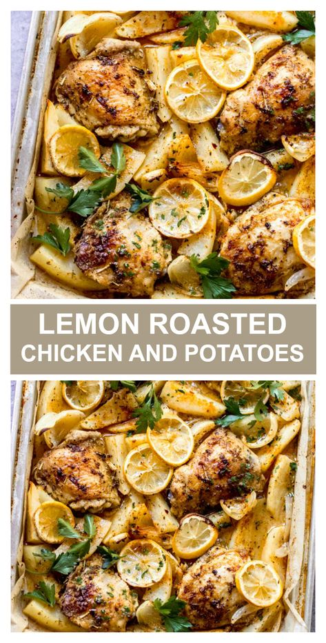 One pan roasted lemon chicken and potatoes! Such an easy and cozy weeknight meal. One pan roasted chicken and potatoes tossed in the most flavorful lemon spice combo and roasted in the oven until juicy tender. It's such an easy weeknight meal! Lemon Roasted Chicken, Lemon Rosemary Chicken, Roasted Chicken And Potatoes, Lemon Potatoes, Chicken Potato Bake, Recipes With Chicken And Potatoes, Rosted Chicken, Roasted Chicken Thighs, Greek Lemon Chicken
