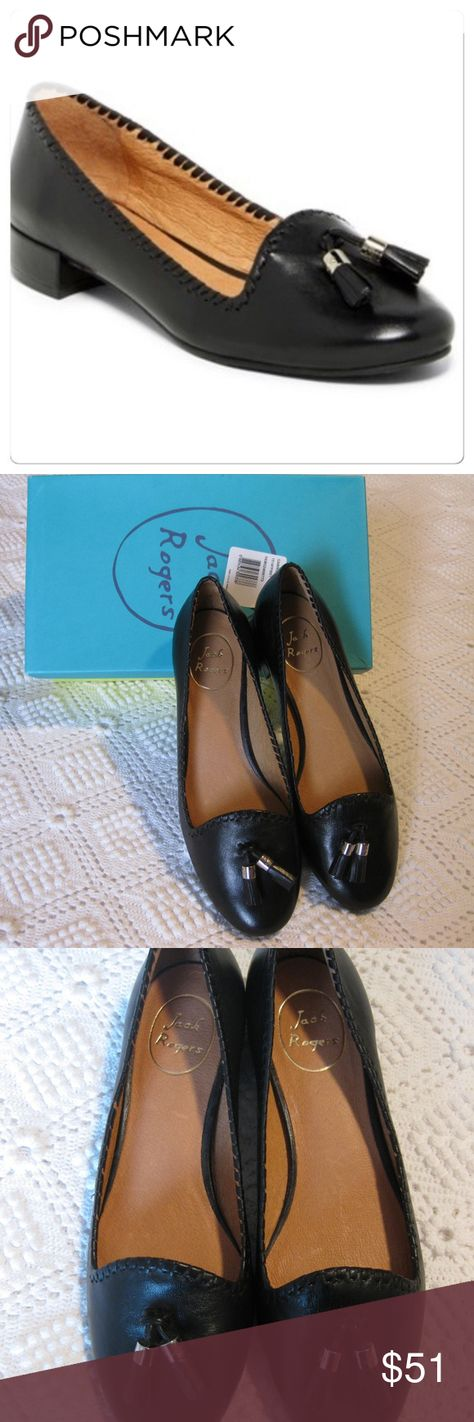 NIB *Jack Rogers* Gabrielle Tassell Flats Size 9M Brand new with box Jack Rogers Gabrielle black flats.  Butter soft leather features the signature whip stitching around the entire shoe opening as well as tassels with JR embossed on the gold hardware.  Can be used for casual or dress. Jack Rogers Shoes Flats & Loafers