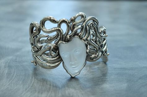 This is a one of a kind handmade sterling silver Medusa cuff bracelet. This gorgeous bracelet is made with Medusas face being a brushed and Cute Jewelry, Body Jewelry, Jewelry Accessories, Unique Jewelry, Piercings, Bijoux Art Nouveau, Zeina, Neue Outfits, Quartz