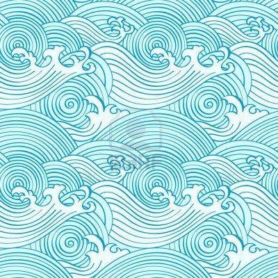 Japanische Nahtlose Wellen Muster In Ocean Farben Furoshikituto