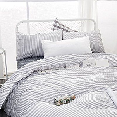 Amazon Com Wake In Cloud Gray White Striped Comforter Set Queen Grey And White Vertical Ticking Stripes Striped Duvet Covers Striped Duvet Duvet Cover Sets
