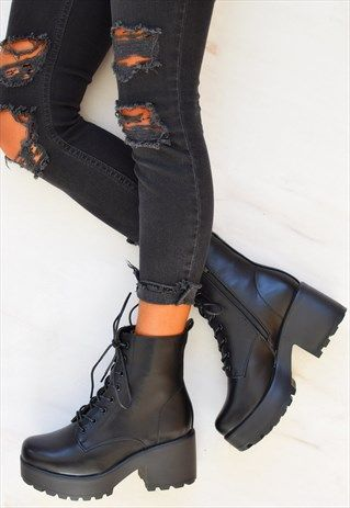 9fa8f21e368 Chunky Platform Lace up Biker Boots - Black in 2019 | shoes | Black ...