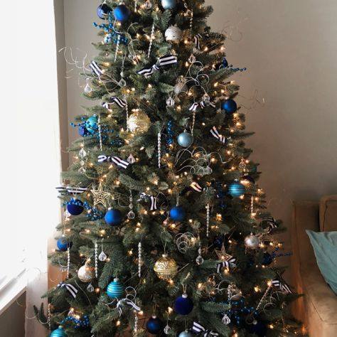 Navy Cobalt Blue Silver Gold Christmas Tree With Striped Ribbon Blue Christmas Tree Decorations Blue Christmas Tree Gold Christmas Tree