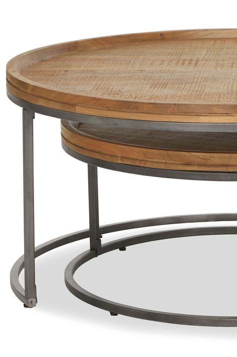 Next Amsterdam Round Coffee Nest Natural Solid Wood
