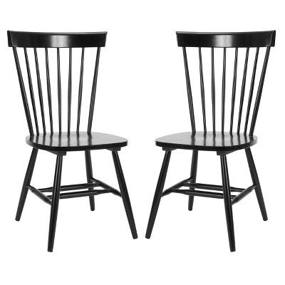 Set Of 2 Dining Chair Wood Black Safavieh Spindle Dining Chair