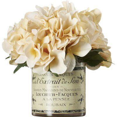Lark Manor Adelaide Hydrangea Floral Arrangement In French Labeled Pot Floral Arrangements Magnolia Leaf Wreath Faux Hydrangea