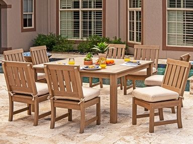 Outdoor Patio Santa Monica Teak Polymer 9 Pc Dining Set With 60 In Dining Table 7761763 Side Chairs Dining Outdoor Dining Chairs Outdoor Furniture Sets