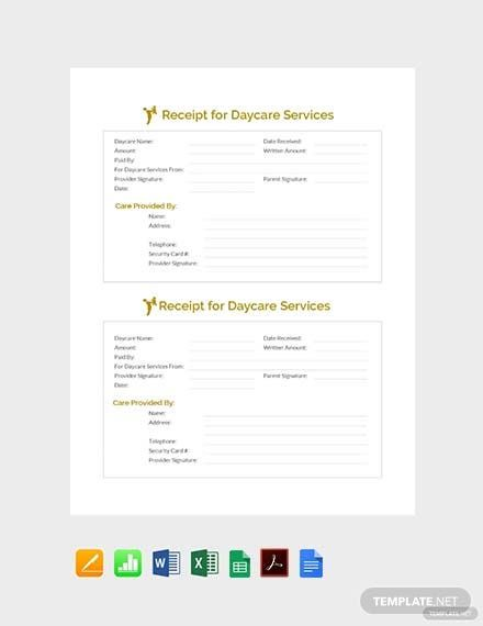 Free Receipt For Daycare Services Template Pdf Word Excel Apple Pages Apple Numbers Receipt Template Planner Template Templates