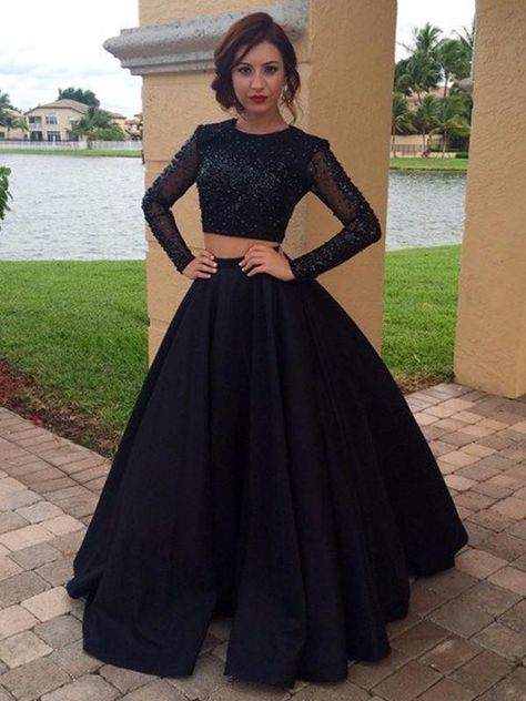 Fashion Ball Gown Scoop Floor-Length Long Sleeves Satin Beading Dresses YB526