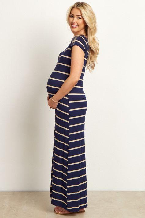 407638409e Navy Beige Striped Maternity Maxi Dress in 2019