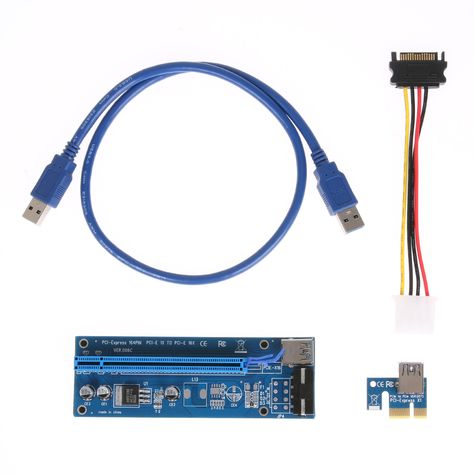 Computer Cables PCI-E 1x to 16x Extender PCI Express Riser Card 60cm USB 3.0 SATA to 4Pin IDE Molex Adapter for Mining Bitcion Miner Cable Length: 60CM, Color: Black
