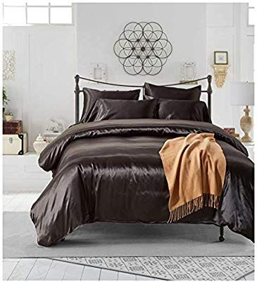 Amazon Com Sensfun Solid Duvet Cover Set Twin Size Soft Satin
