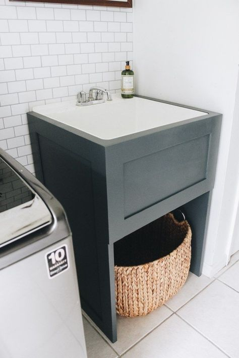 Create a faux cabinet to hide your utility sink. DIY Utility sink makeover sink laundry room How to Hide Your Utility Sink: Faux Cabinet Tutorial - Within the Grove Laundry Room Utility Sink, Laundry Tubs, Laundry Room Remodel, Farmhouse Laundry Room, Laundry Room Organization, Small Laundry, Laundry Room Design, Laundry In Bathroom, Basement Laundry Rooms