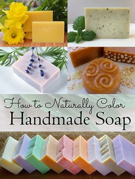 How to Naturally Color Handmade Soap: a list of natural ingredients including flowers, herbs, plants, and minerals, that you can use to tint your handmade soap to any colour of the rainbow - Crafts Diy Home Diy Savon, Savon Soap, Soap Making Recipes, Homemade Soap Recipes, Recipe Making, Homemade Paint, Green Soap, Soap Making Supplies, Lavender Soap