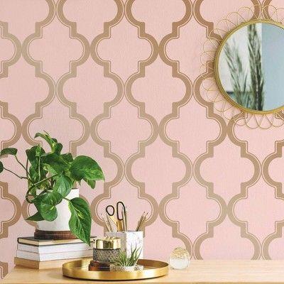 Tempaper Marrakesh Self Adhesive Removable Wallpaper Pink Gold In 2020 Pink And Gold Wallpaper Pink Removable Wallpaper Pink And Green Wallpaper