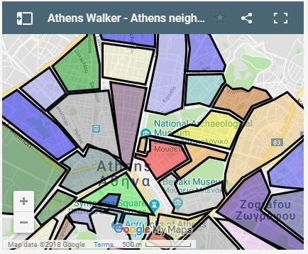 A Map Of Athens Neighborhoods Athens The Neighbourhood Map