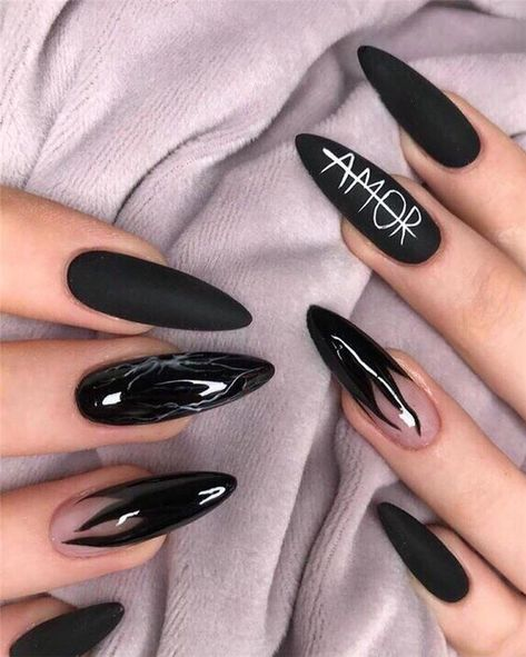 60+ Cool Black Nail Designs to Try Now #nails #nailart #naildesigns #blacknails