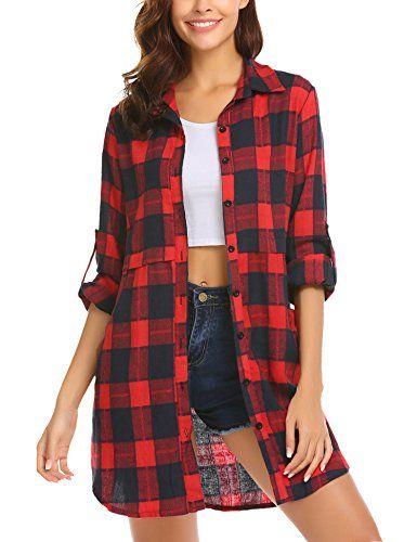 low priced 15517 ec792 Unibelle Hemd Damen Kariert Plaid Buttons Langarm Hemd Shirt ...