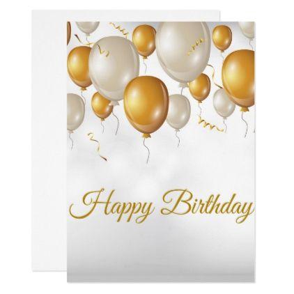 Formal Golden Delicious Balloons Happy Birthday Invitation
