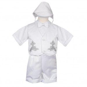 Rafael Collection Little Boys 4 pc Cross Grapevine Vest Hat Baptism Outfit 2-4