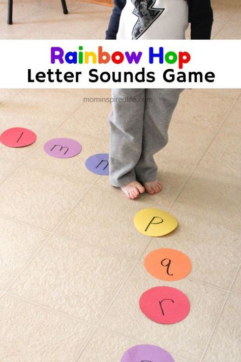 Great idea to learn AND get the kids moving Rainbow Hop Letter Sounds Alphabet Game. Practice letter sounds with this fun literacy learning activity! E Learning, Learning The Alphabet, Toddler Learning, Letter Learning Games, Preschool Learning Games, Alphabet Games For Preschoolers, Kinesthetic Learning, Learning Numbers, Teaching Resources