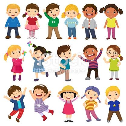 Happy Kids Cartoon Collection Multicultural Children In Different