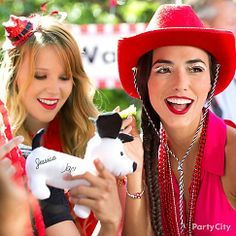 Add some pep rally 'tude to your grad party with  cowboy hats, beads and glam eyelashes!