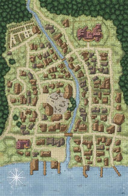 Roderics Cove by Matthias Rotenaicher Return of the Runelords Pathfinder Paizo town map d20 city port Fantasy city map Fantasy world map Fantasy town