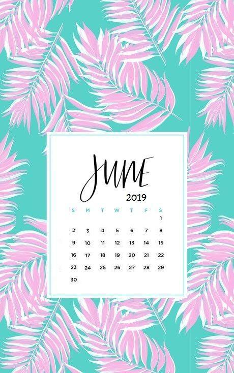 Cute Pink Leaves Painting June 2019 Iphone Wallpaper Calendar