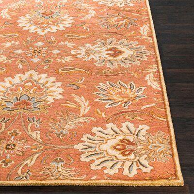 Birch Lane Aaron Floral Handmade Tufted Wool Burnt Orange Area Rug Area Rugs Orange Area Rug Floral Area Rugs