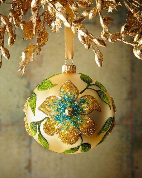 Yellow Gold Matte Glass Ball Christmas Ornament With Flower Glass Ball Ornaments Christmas Ornaments Painted Christmas Ornaments