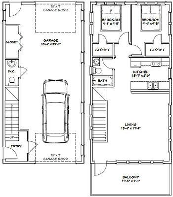 20x40 House 2 Bedroom 1 5 Bath 1 053 Sq Ft Pdf Floor Plan